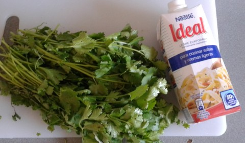 leche evaporada y cilantro en ceviche